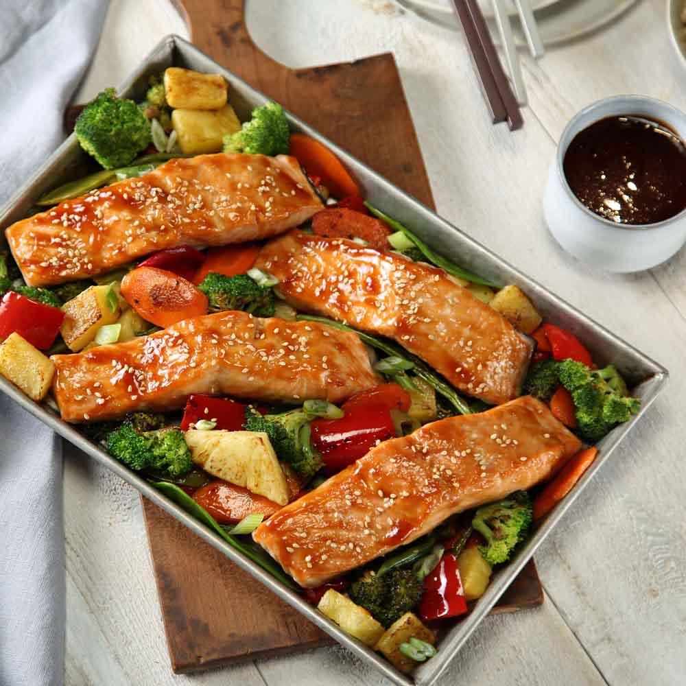 Teriyaki Salmon Sheet Pan Dinner P F Chang S Home Menu